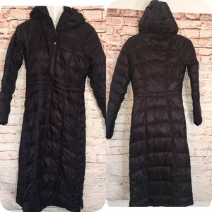 ATHLETA BLACK PUFFER DOWN Full LENGTH HOOD COAT-XS